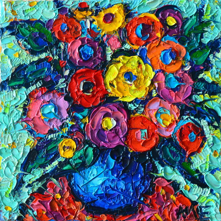 COLOURFUL WILD ROSES 10 - abstract modern impressionist floral miniature palette knife oil painting - Image 0