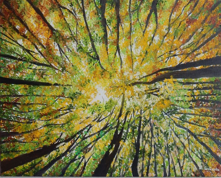 """""""Look up with hope"""" -original oil painting abstract trees landscape wall art home decor ready to hang - Image 0"""