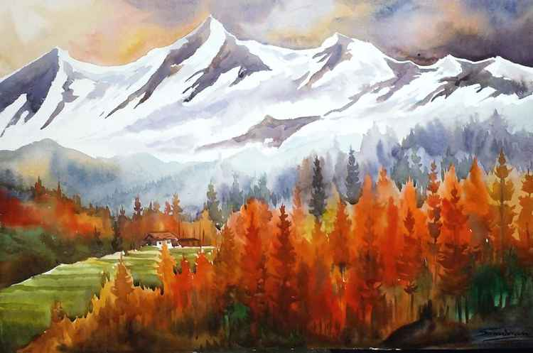 Autumn Forest & Snow Peaks - Watercolor Painting -