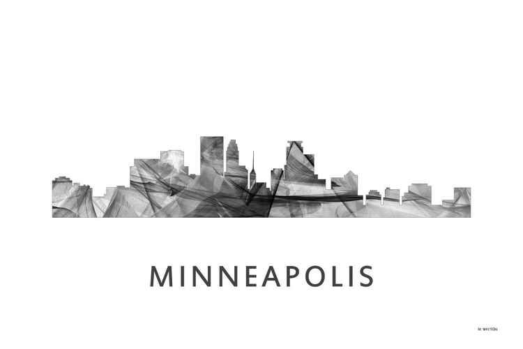 Minneapolis Minnesota Skyline WB BW -
