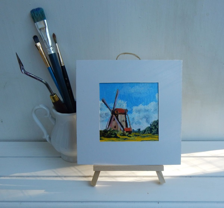 Wind mill in Zaanse Schance. Holland. Landscape Miniature. Easel is included. Gift painting. Ready to hang. - Image 0