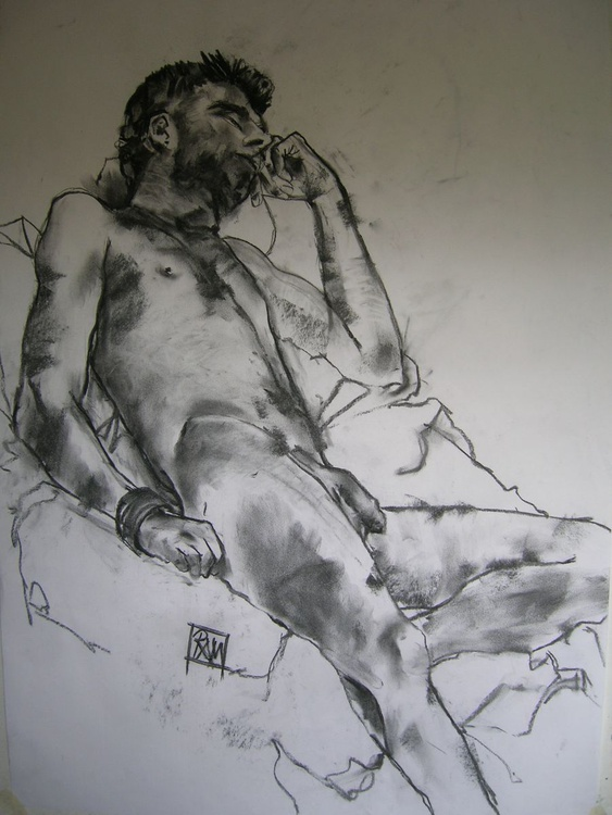 Male nude reclined - Image 0