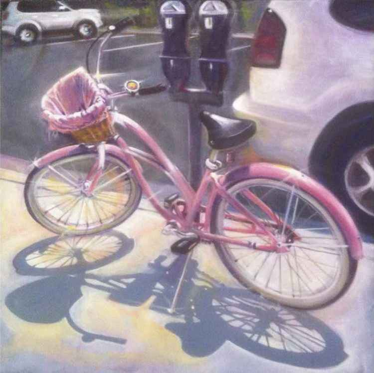 "Pink Bike 20"" x 20"" Gallery Wrap Canvas"