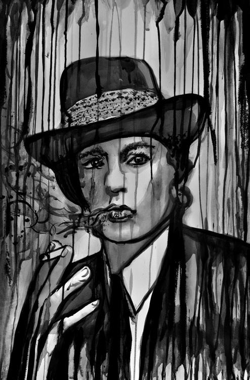 Alain Delon Smoking in the Rain - Image 0