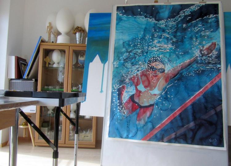 Swimmer (110 x 148 cm / 43.3'' x 58.2'') - Image 0