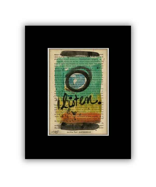 """""""Listen"""" on Antique Book Page - Abstract Watercolor Painting -"""