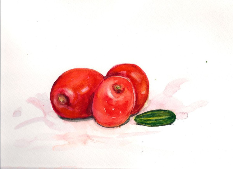 """Still life with juicy """"Apple tomatoes""""- 10""""x 7"""" - Image 0"""