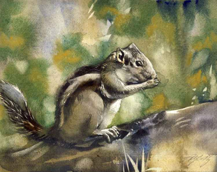 Little chipmunk watercolor -