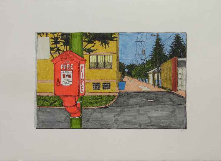 Alley with Fire Alarm -