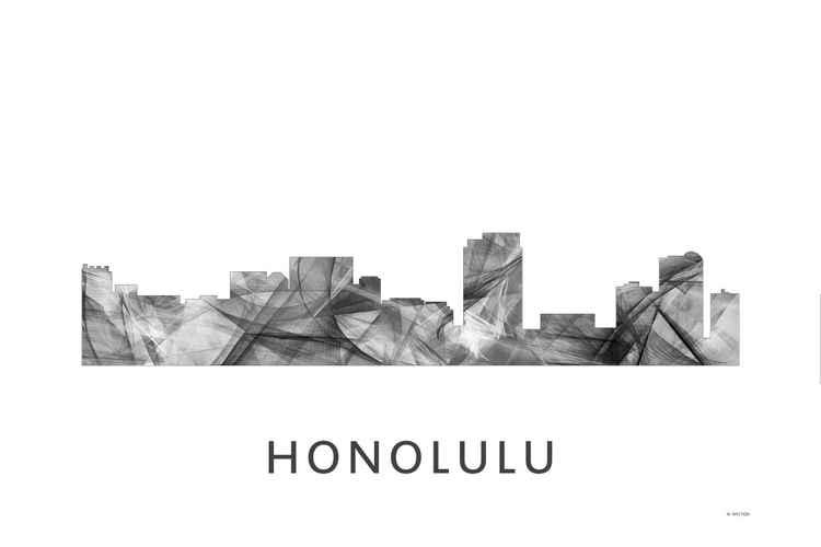 Honolulu Hawaii Skyline WB BW -