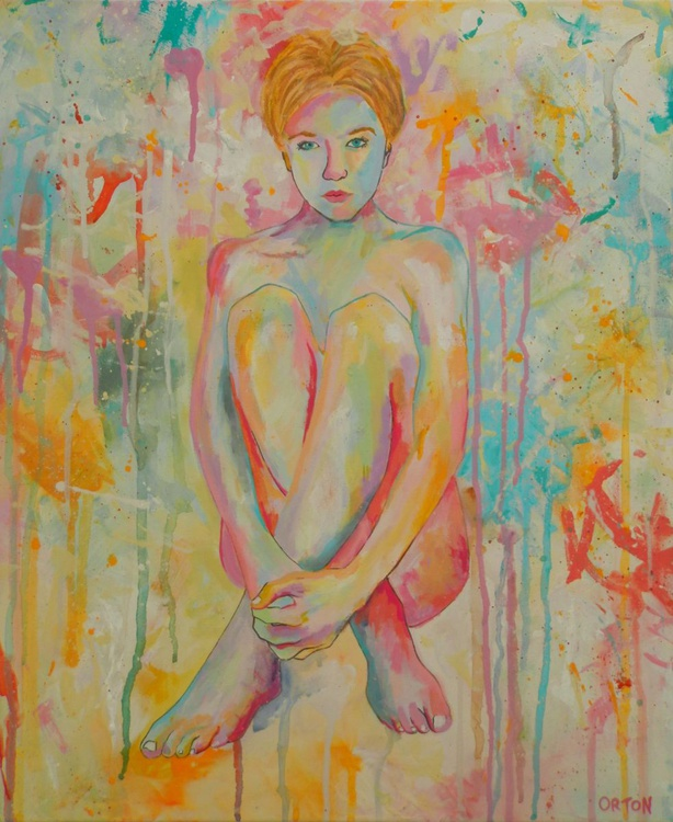 Abstract Female Nude Original Acrylic Painting Female Figure Study - Image 0