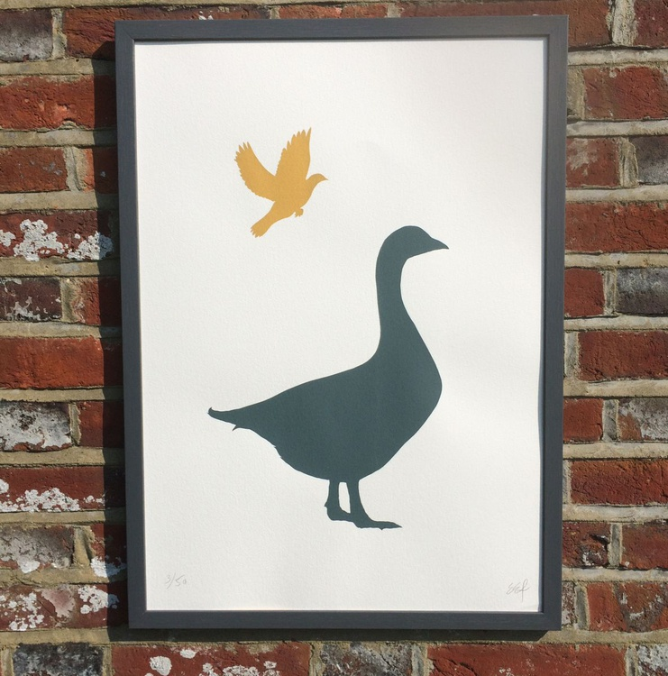 GOOSE AND DOVE-FRAMED - Image 0