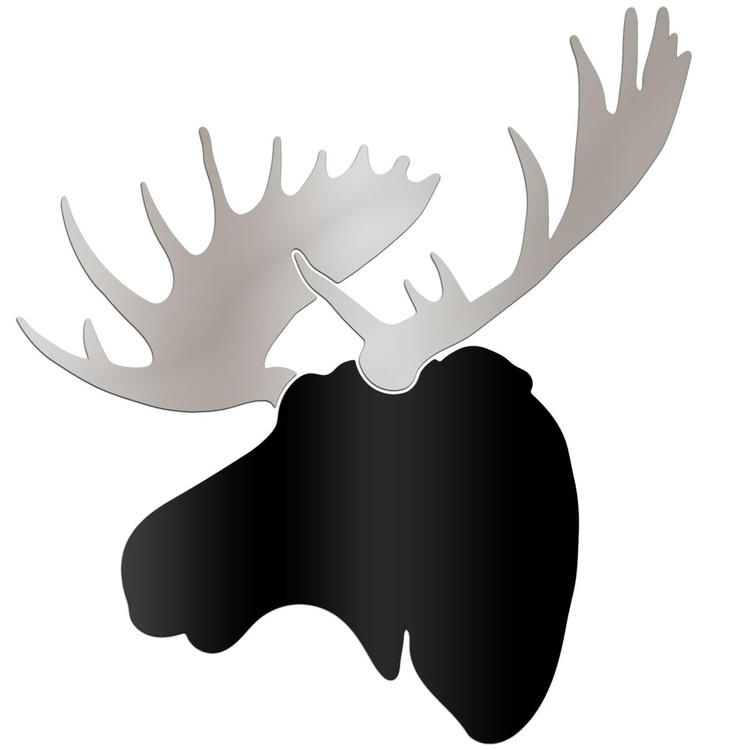 Urban Moose | Large Black & Silver Moose Wall Sculpture Silhouette Cutout - Image 0