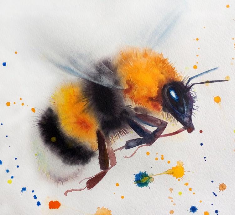 Flying Bumblebee. Original watercolour painting. - Image 0