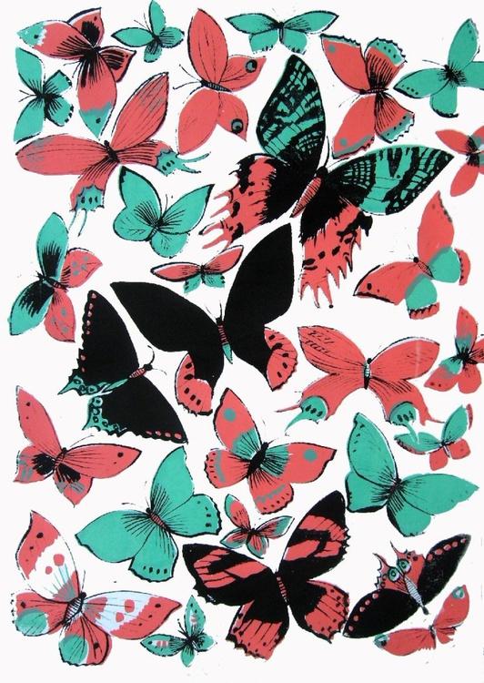 Butterflies in flight screenprint - Image 0