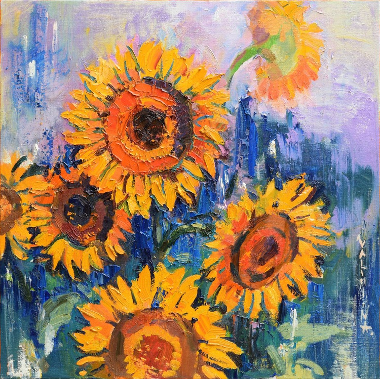 Sunflowers abstract painting - Image 0