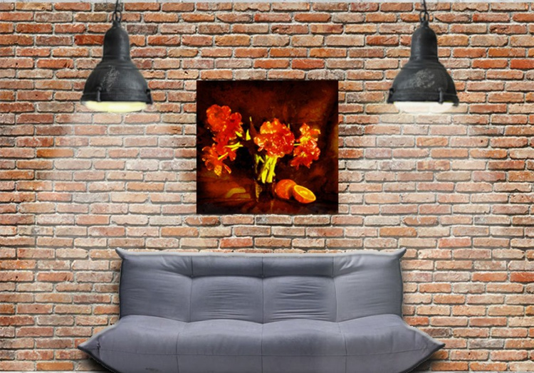 Still life with tulips and oranges - Image 0