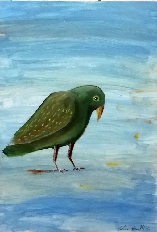 Green bird - oil on paper - Image 0