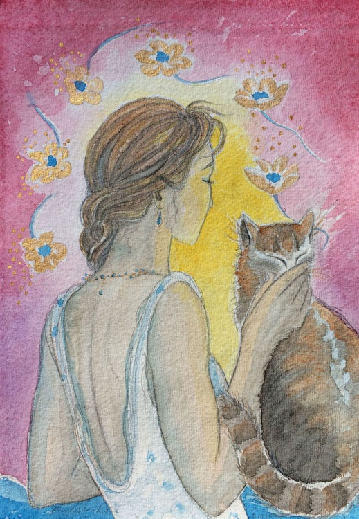 Happiness is a cat with six golden flowers - Image 0