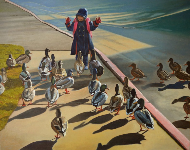 The Sidewalk Religion - Andrew Wyeth inspired - child with ducks - Image 0