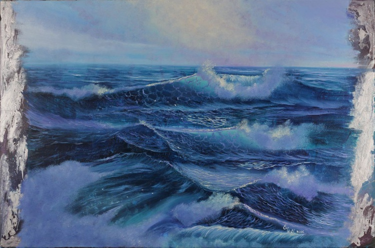 """Rebirth, Large Seascape Painting, XL Sea Painting, Semi-abstract Ocean Waves Painting, Large 36x24"""" - Image 0"""