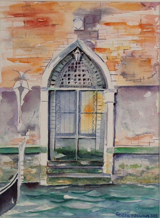 Door in Venice watercolor - Image 0