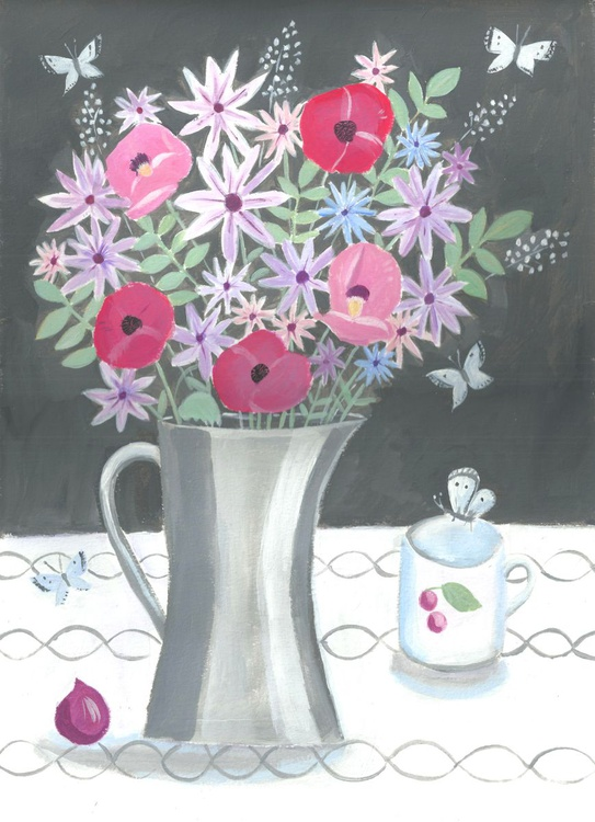 Flowers in a pewter jug - Image 0