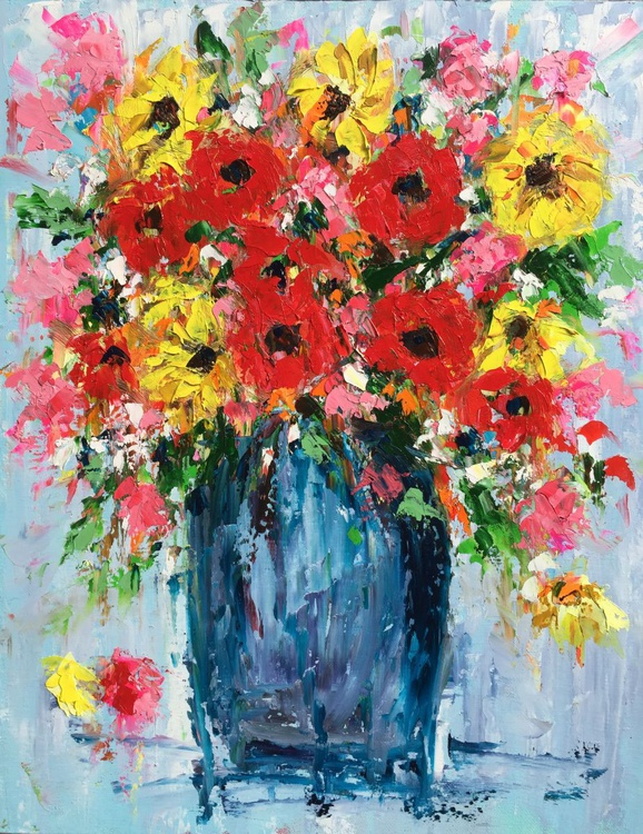 "Vase of Sunflowers and Poppies 20""x16"" - Image 0"