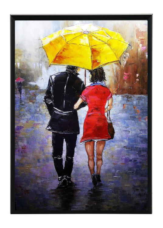 Yellow UMBRELLA 50x70 cm FRAMED READY TO HANG CITY painting HOME OFFICE WALL DECOR GIFT IDEA - Image 0