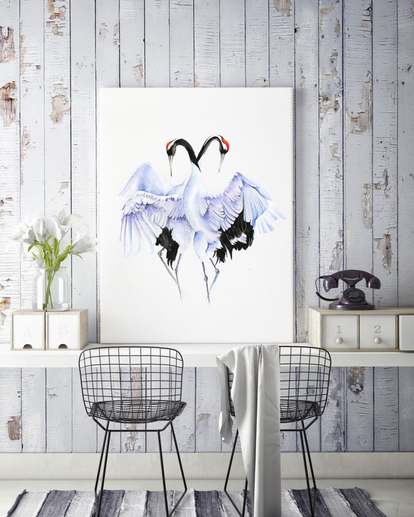CRANES LOVE DANCE  bird, birds, animals, wildlife watercolour painting - Image 0