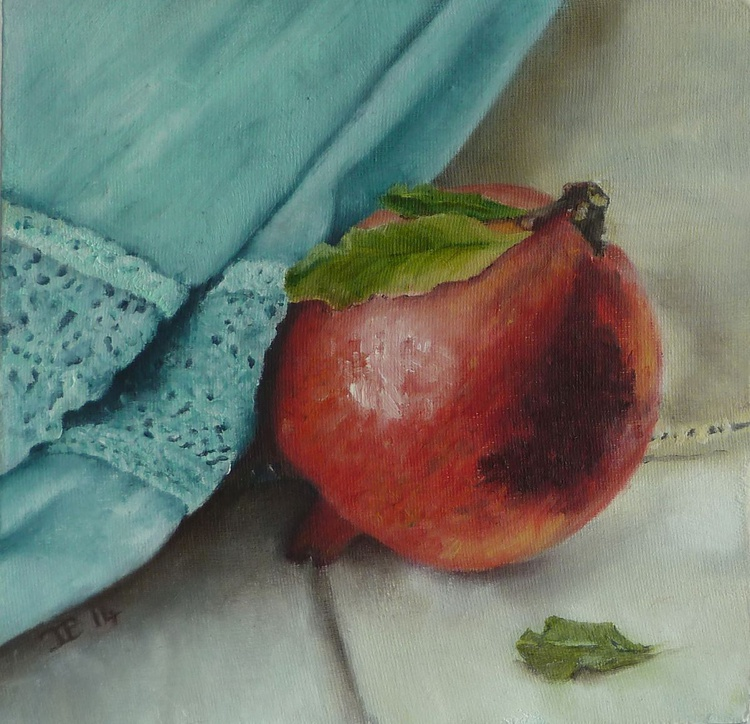 Pomegranate with draped fabric - Image 0
