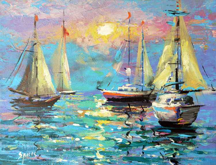 "Sail - Oil Painting On Canvas with Palette Knife  by Dmitry Spiros. 24""x32"" (60x80cm), 2015"