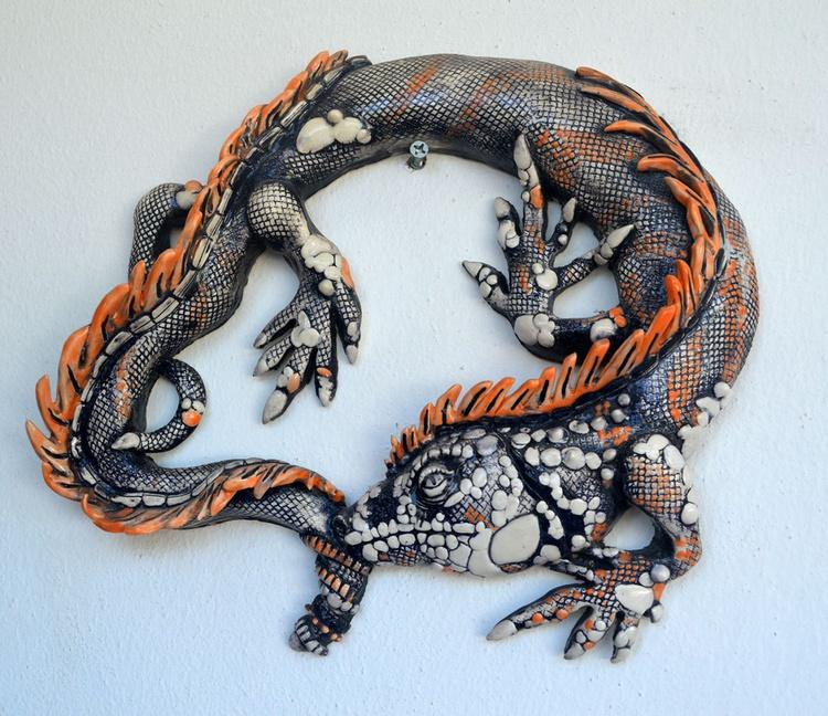 La iguana I - one of kind, ceramic of mexican clay. - Image 0