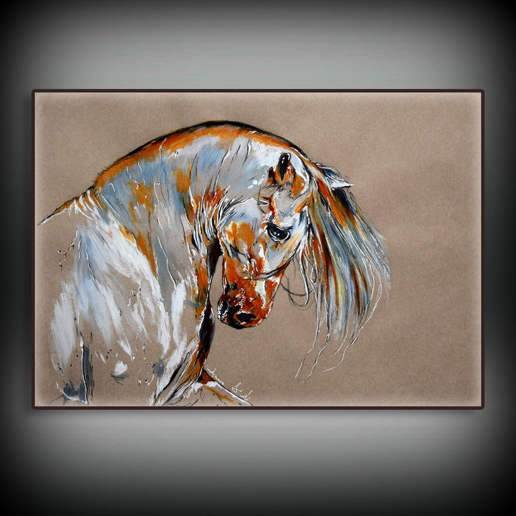 Horse Head / Original Horse Equine Art  Modern Contemporary Wall Art Home Decor by Anna Sidi - Image 0