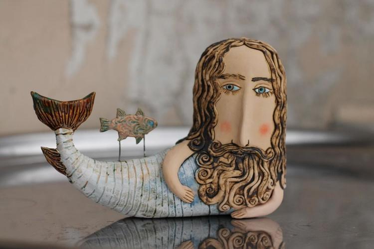 Merman, the sea leon. Ceramic ooak sculpture. - Image 0