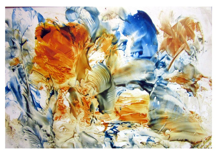 """Sunshine and Blue Skies -  Encaustic on Paper (hot wax on heavy carton)  matted to 16""""x20"""" - Image 0"""