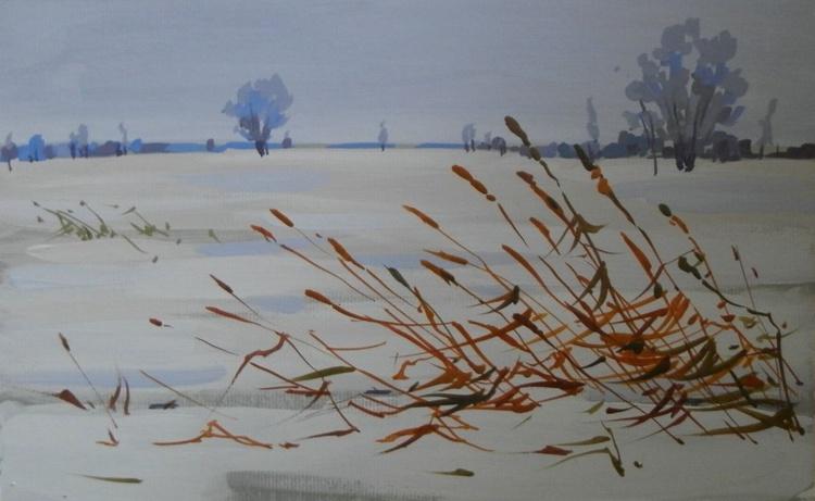 winter. original painting 29x18 cm - Image 0