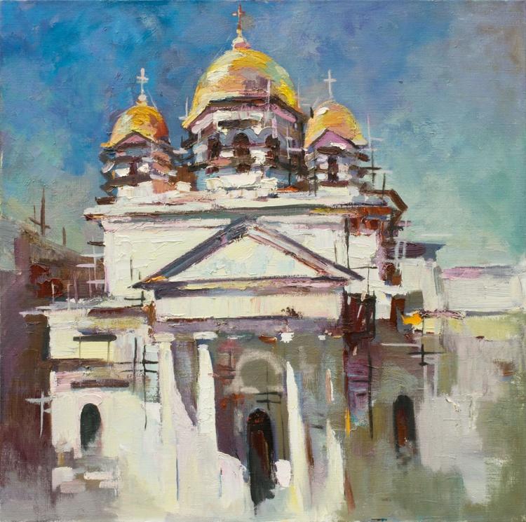 Original oil painting Church of St. Alexander Nevsky in Simferopol, Crimea - Image 0