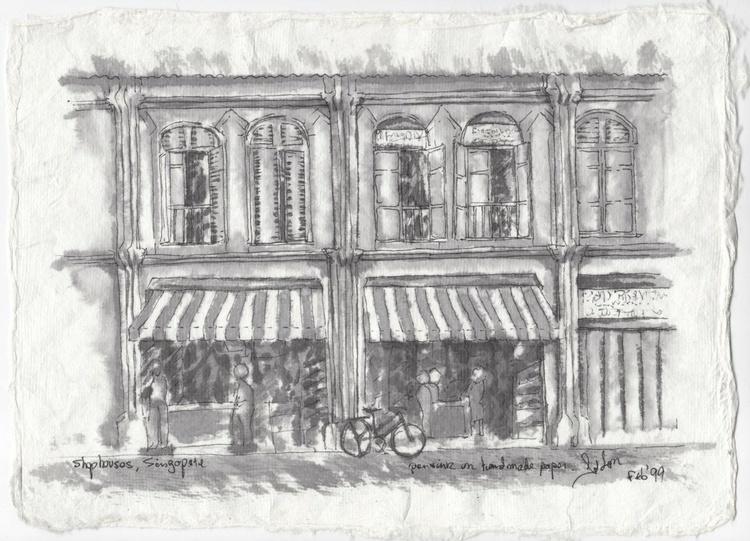 Shophouses, Singapore, pen & ink - Image 0