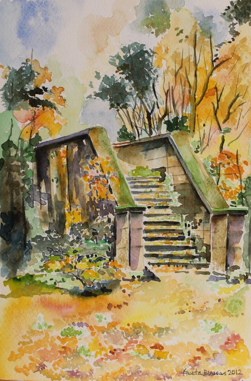 Autumn stairs, watercolor, gift - Image 0