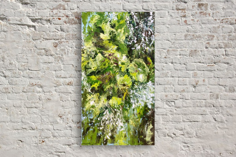 Original artwork Abstract floral painting, Green Bouquet, Botanical, Flowers - Image 0