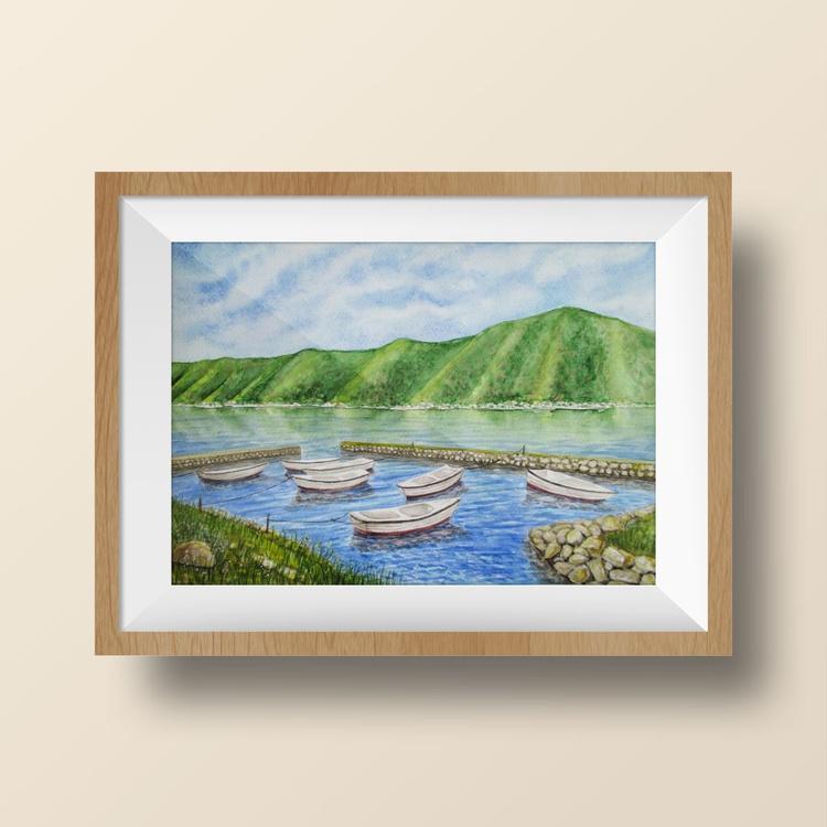 Calm day - watercolor landscape - Image 0