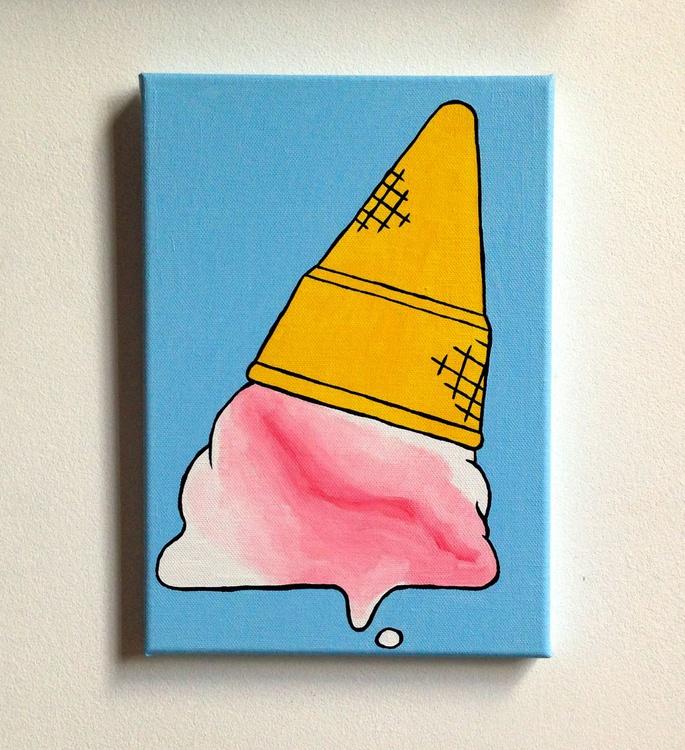 Dropped Ice Cream Cone Pop Art Canvas - Image 0