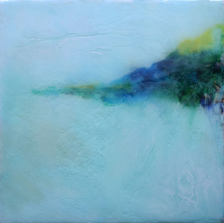 Island in a foggy day / Abstract / Mixed Media on canvas - Image 0
