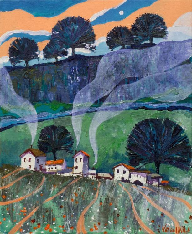 Rural Landscape Original Acrylic Painting - Image 0