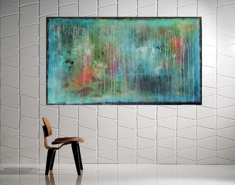 51''x29'',BREAKING DAWN 3,  extra large abstract painting, urban art, large canvas art,  green shades - Image 0