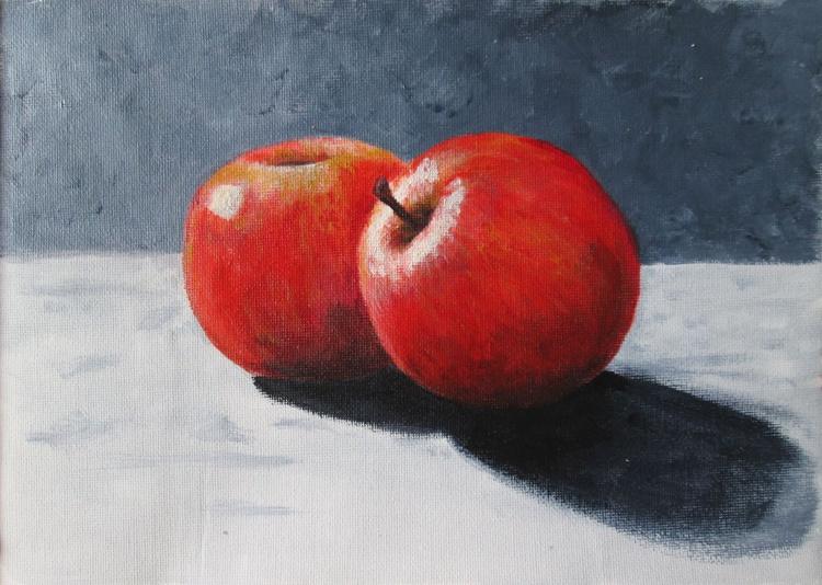 """TWO APPLES"", kitchen art, home decor, original acrylic pn canvas - Image 0"