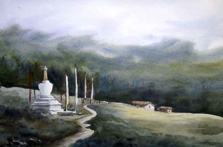 Monastery & Mysterious Himalaya  - Watercolor Painting