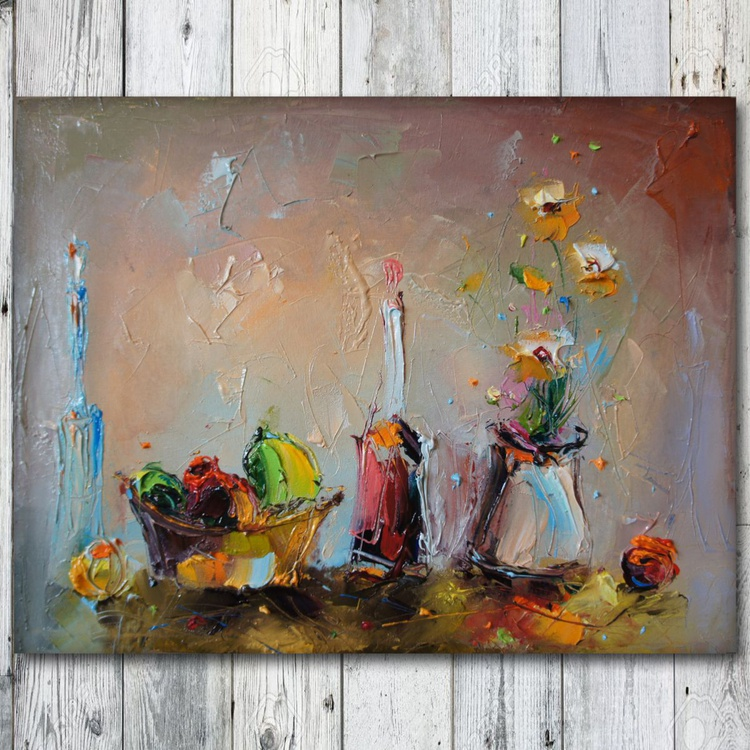 Sunday afternoon, Modern still life painting, Free shipping - Image 0