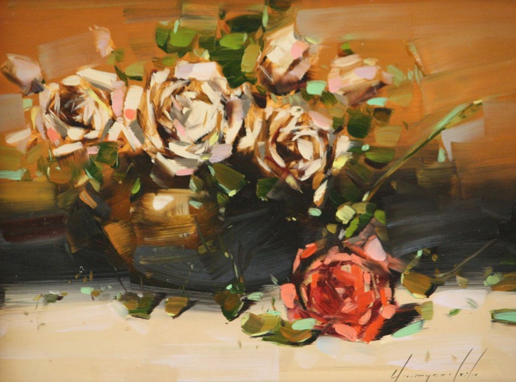Vase of Roses Original Framed Painting Ready to hang - Image 0